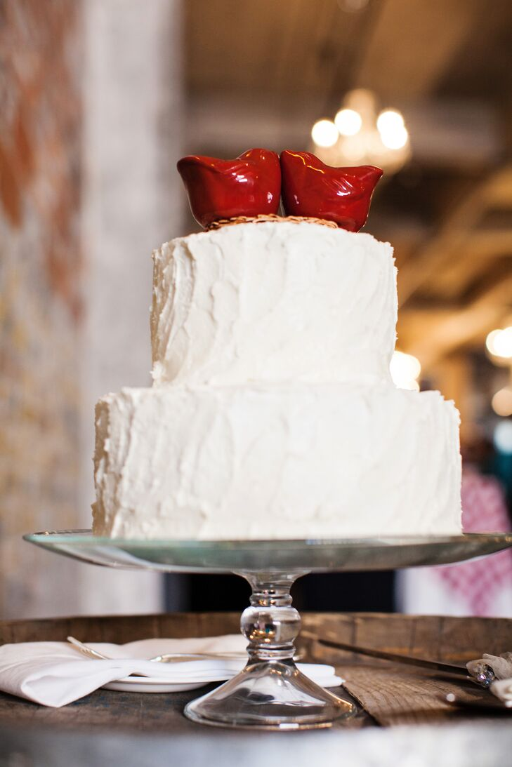 Red Cardinal Topped Buttercream Wedding Cake
