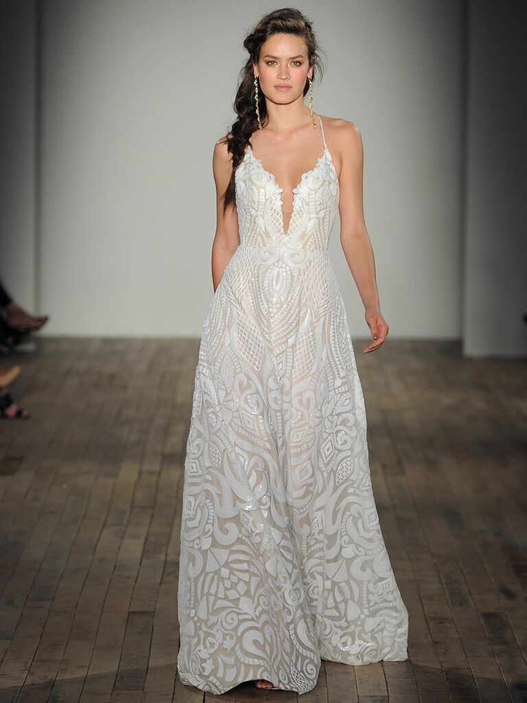 Blush By Hayley Paige Spring 2018 White Wedding Dress With Geometic Overlay And Deep Plunging