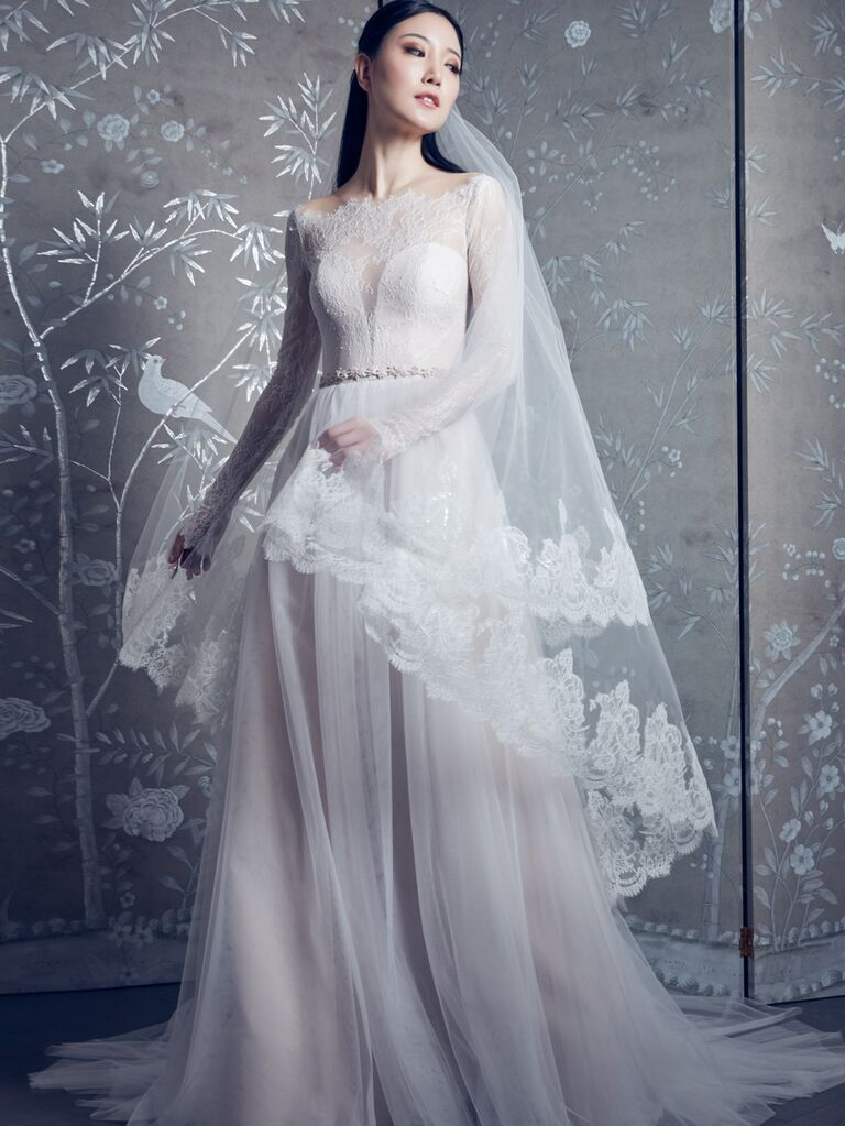 Legends by Romona Keveza Spring 2020 Bridal Collection A-line wedding dress with lace long-sleeve bodice