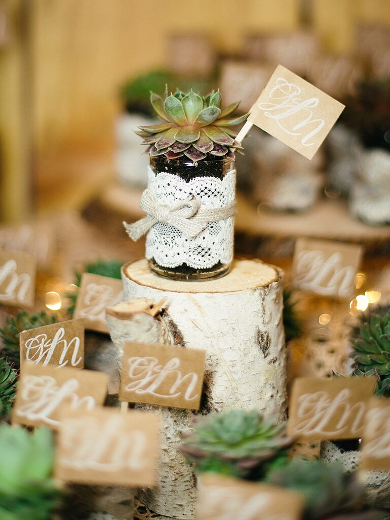 Succulent wedding favor idea with monogrammed thank-you tags
