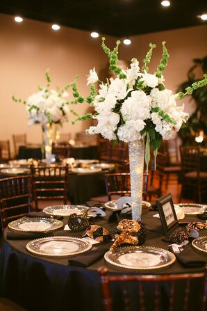 Tall Hydrangea Centerpieces with Glowing LED Lights in Vase