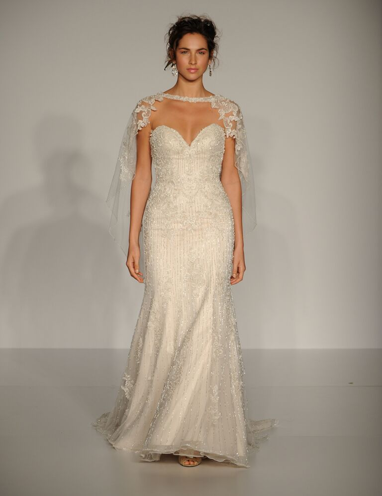 Maggie Sottero Fall 2016 strapless, embroidered dress with a sweetheart neckline and a lace cape