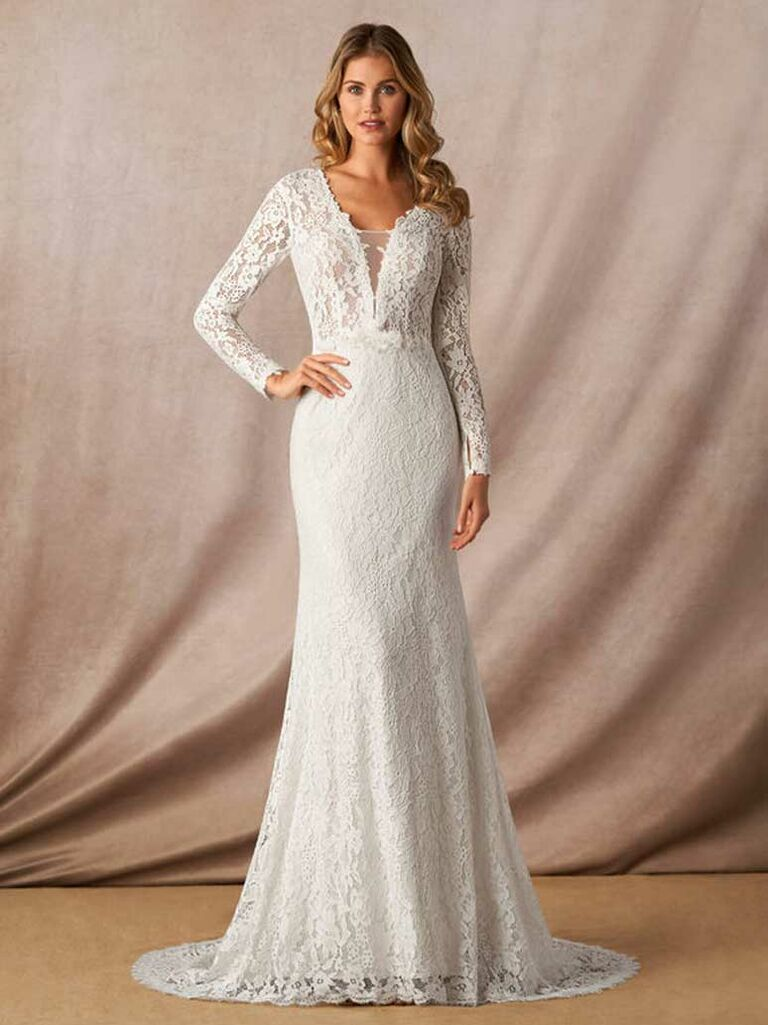 Lace long sleeve wedding dress with plunging neckline