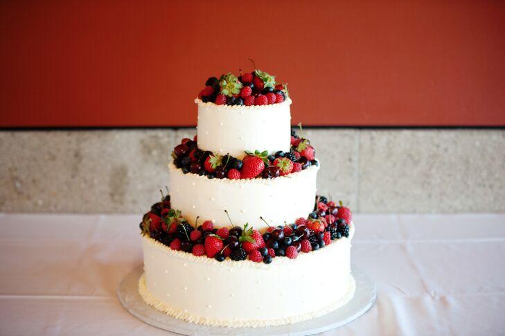 Three Tier Buttercream Wedding Cake With Fruit
