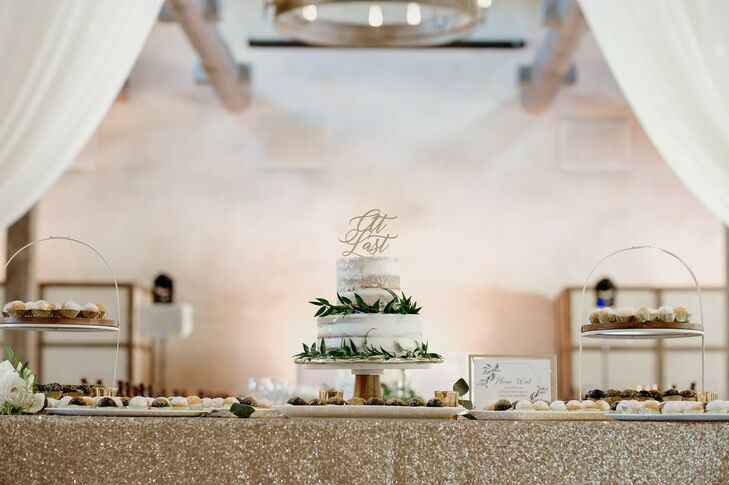 Rustic Semi-Naked Tiered Wedding Cake with Greenery on Dessert Table