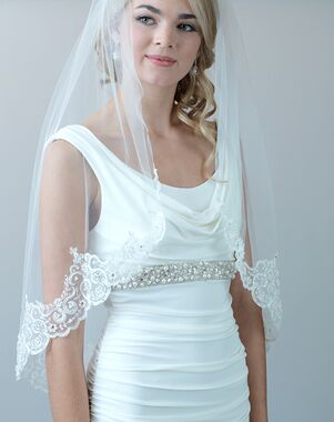 USABride Claudia Lace & Beaded Bridal Veil (VB-5048) Ivory Veil