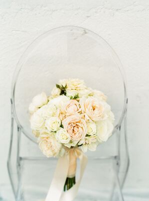 Romantic Blue and Ivory Rose Bouquet