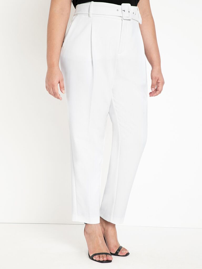 High-waisted belted trousers