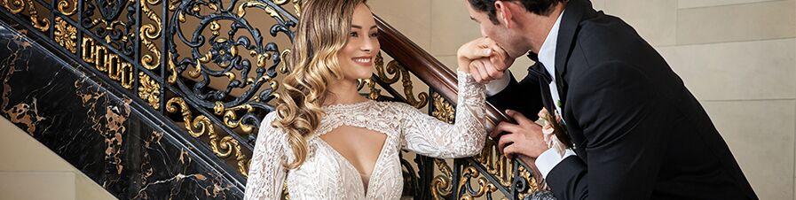 bride in Jasmine bridal wedding dress