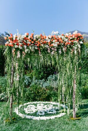 Dramatic Cascading Floral Wedding Arch