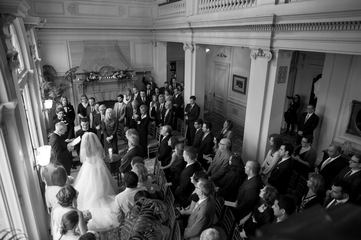 The ceremony took place in the Great Hall of the Cairnwood Estate. Despite being in a grand mansion, Jennifer wanted there to be an air of intimacy. To add a bit of customization, Jennifer wrote the ceremony herself.