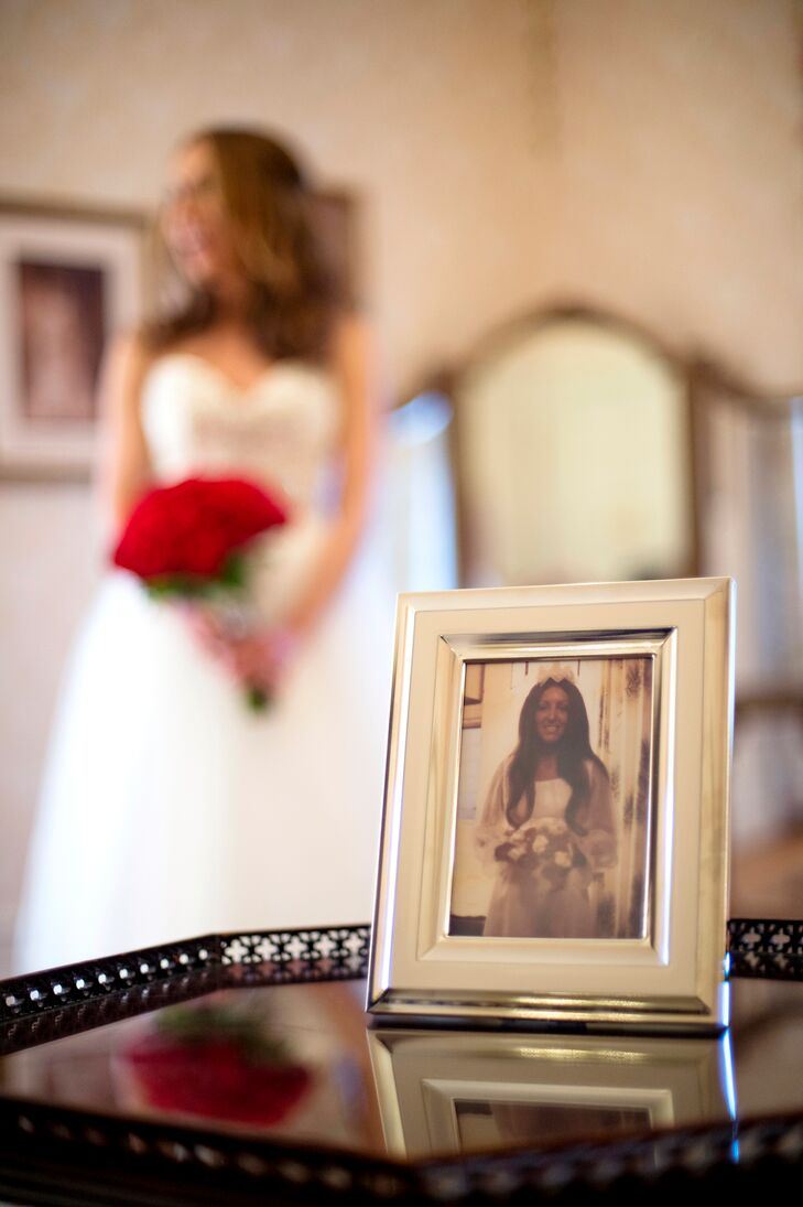 The library of the Cairnwood Estate was adorned with framed pictures of Jennifer and John's ancestors on their wedding days, a thoughtful nod to their families.