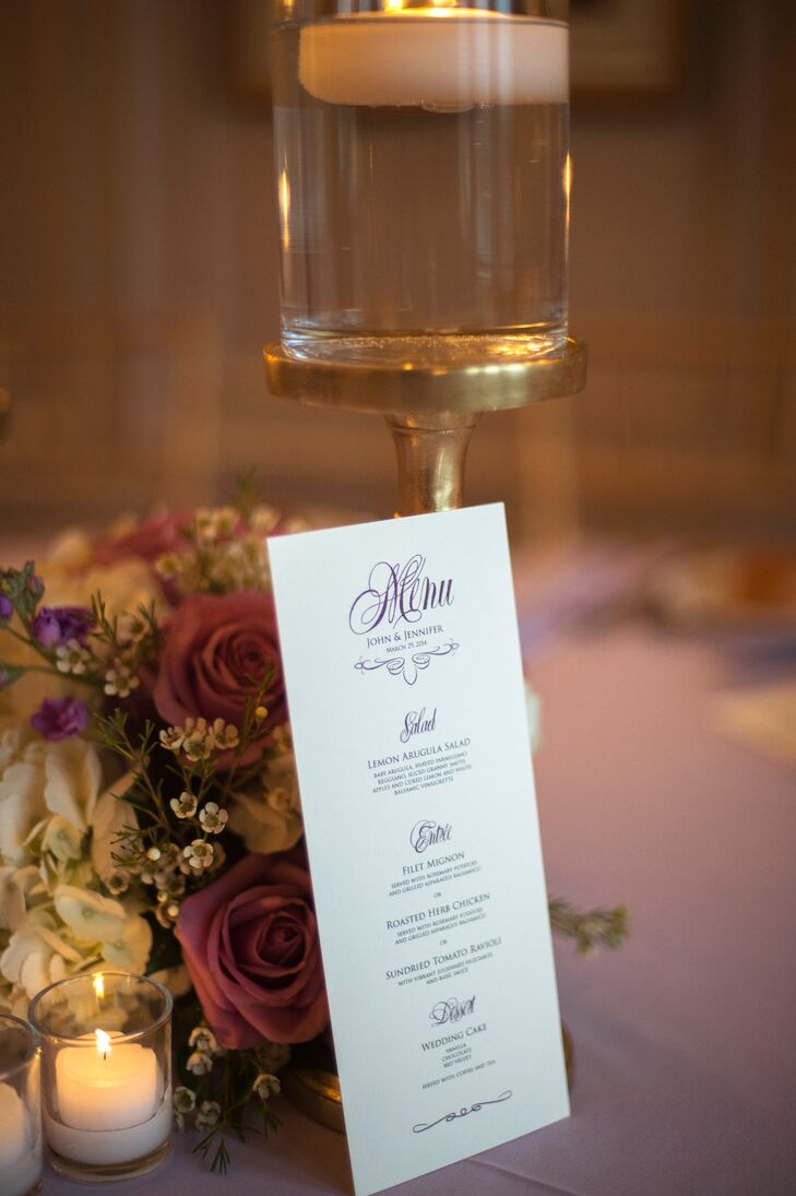 In addition to the many hands-on touches to the ceremony and reception, John designed the menu cards, programs, place cards and table numbers.