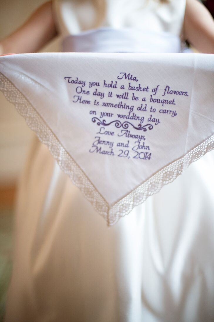 The couple aimed to add as many personal details to their wedding as possible. Jennifer gifted each of her flower girls with an embroidered handkerchief for them to use in their own future weddings.