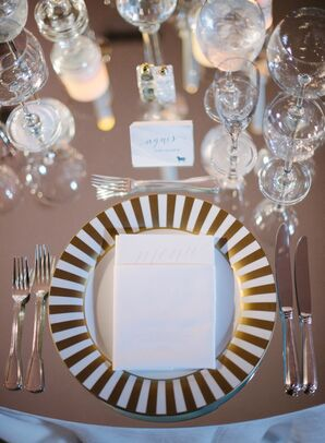 Glamorous Gold Striped Plate with Classic Menu