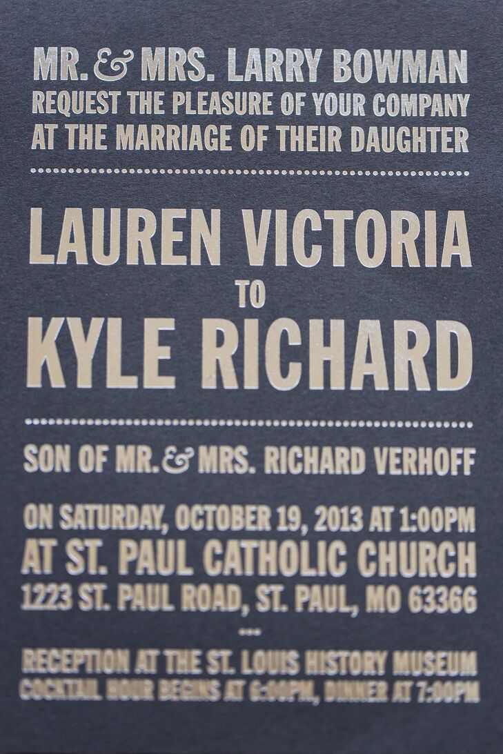 Bold Navy and Gold Wedding Invitations