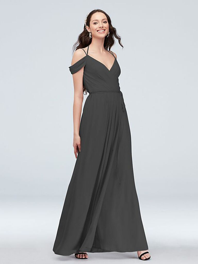 Cold shoulder dark gray bridesmaid dress