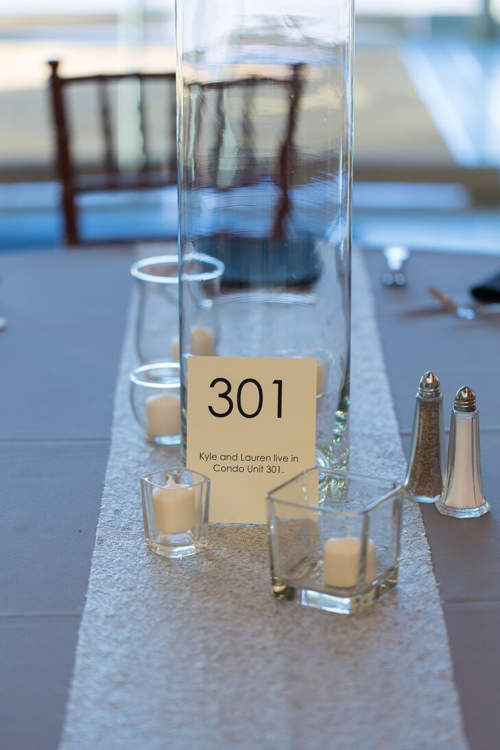 Lauren and Kyle numbered their tables with numbers that were important to them. For example, table 19 was because the couple started dating on Feb. 19. Or table 301 was their apartment number.