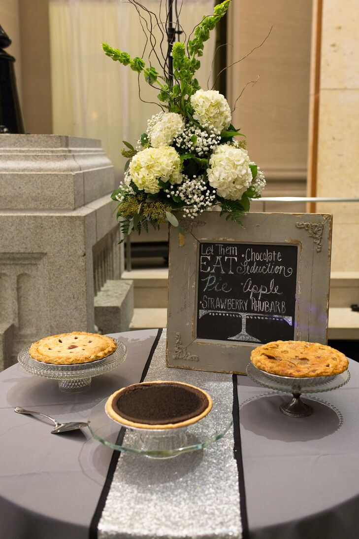 Instead of having cake at their wedding, Lauren and Kyle served chocolate fudge pie, strawberry rhubarb pie and apple pie.