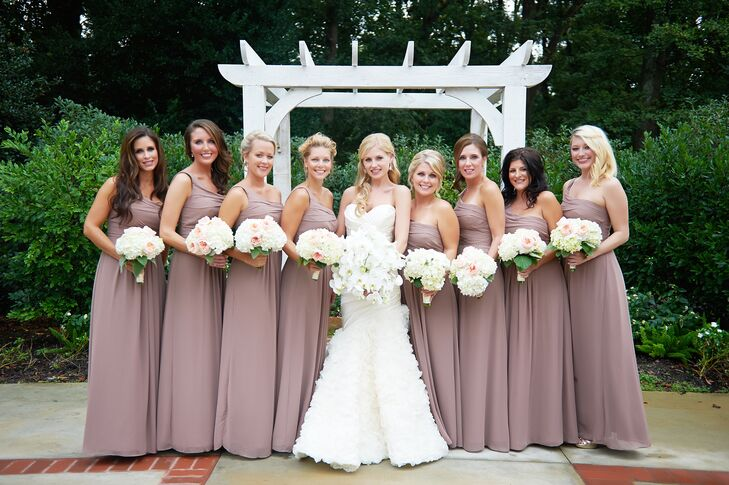 ebceb7955ba The bridesmaids bouquets consisted of white hydrangeas and pink Juliette  roses