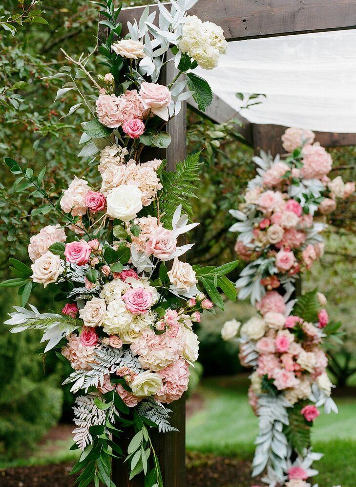 Pink Floral Chuppah for Backyard Microwedding in Potomac, Maryland
