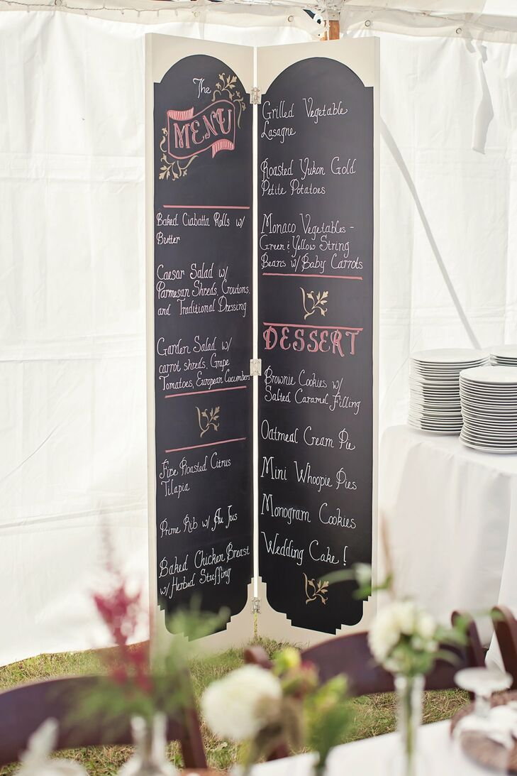 Upon entering the reception tent, guests were greeted by a vintage inspired chalkboard menu designed by a friend of the bride.