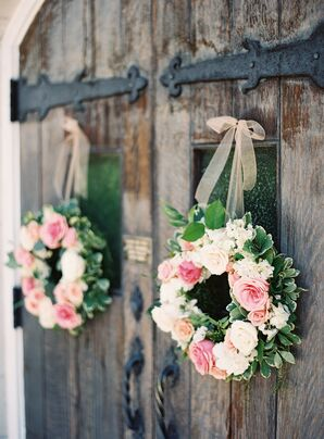 Pink Rose and Variegated Greenery Wreaths