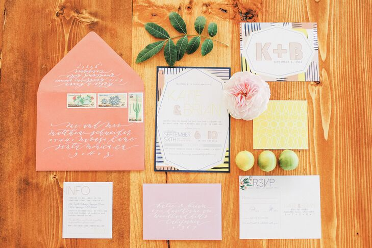 Northern California-based Peanut Press Creative and Amber Moon designs helped craft the colorful invitations, programs, and signage for Katie and Brian's wedding.