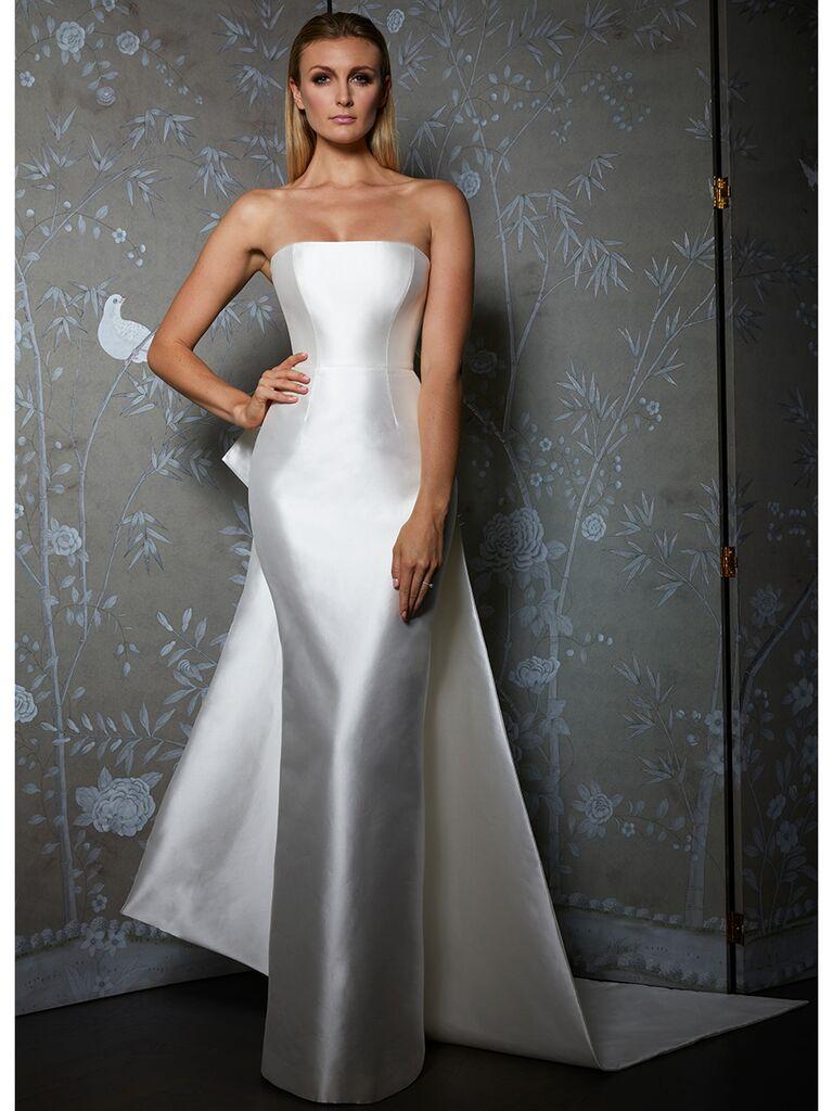 Legends by Romona Keveza wedding dress silk strapless sheath with train