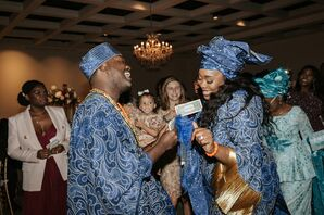 Bride and Groom in Traditional Nigerian Wedding Attire at The Cummer Museum of Art & Gardens in Jacksonville, Florida