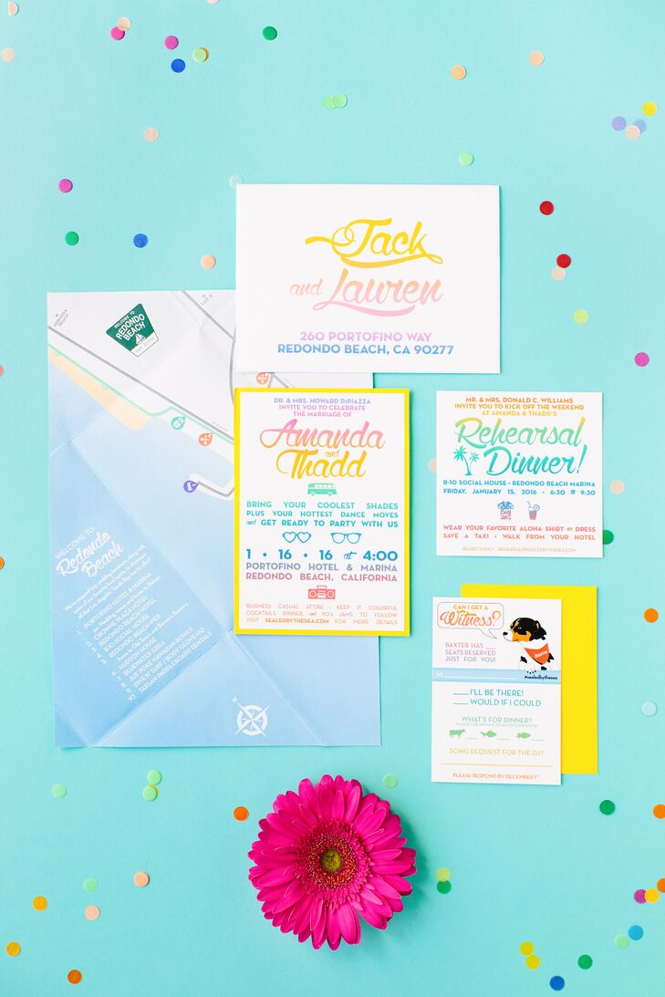 "Thadd designed the rainbow ombre invitations, which Amanda described as ""classy but also unexpected and fun."""