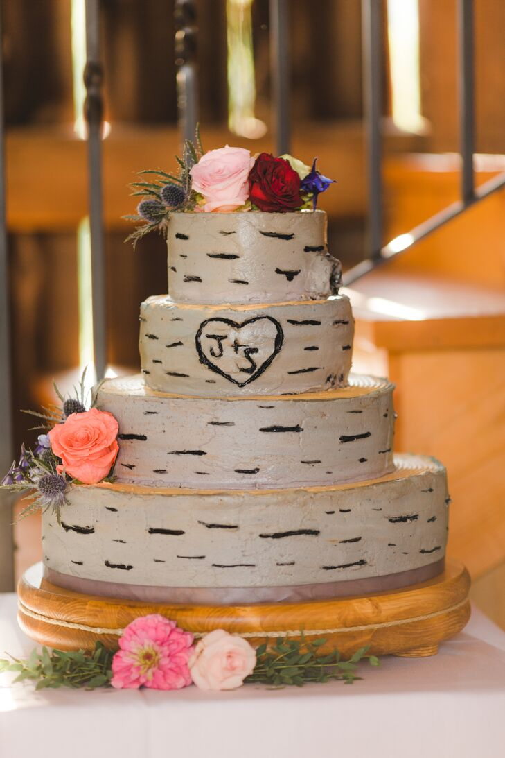 Tree Bark Frosted Wedding Cake