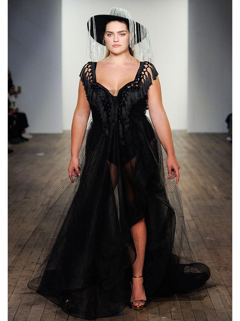 Black Tulle A-Line Wedding Dress