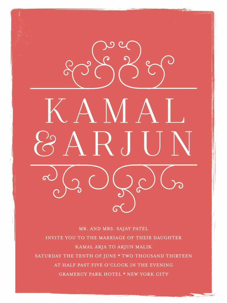 bright red printable wedding invitation from minted