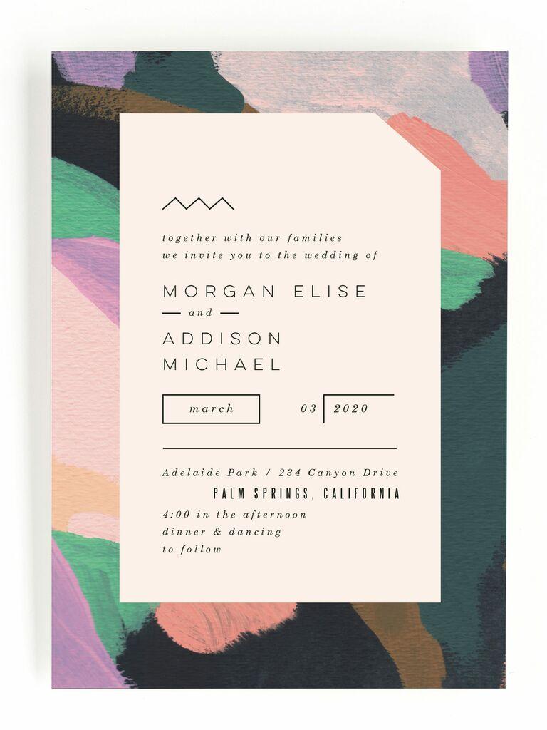 Modern artsy Minted spring wedding invitation