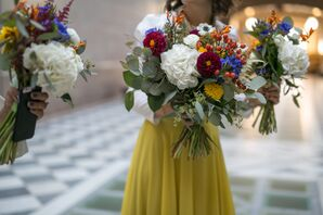 Colorful Oversized Bouquets with Anemones, Dahlias, Berries and More
