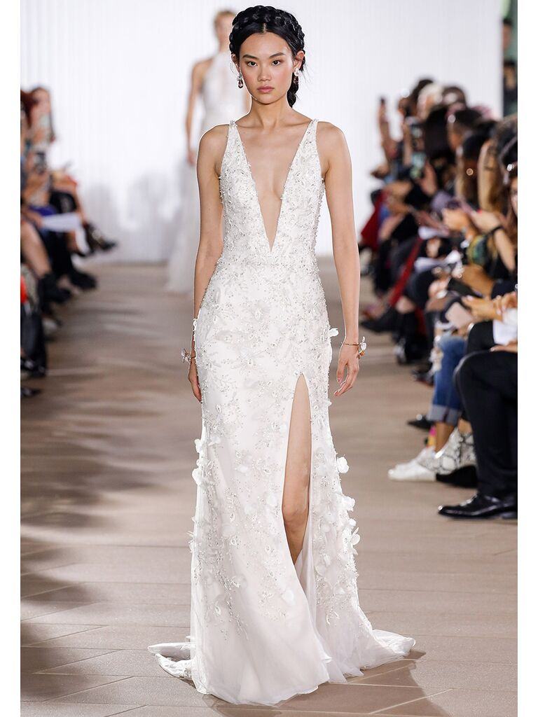 Ines Di Santo wedding dress plunging a-line