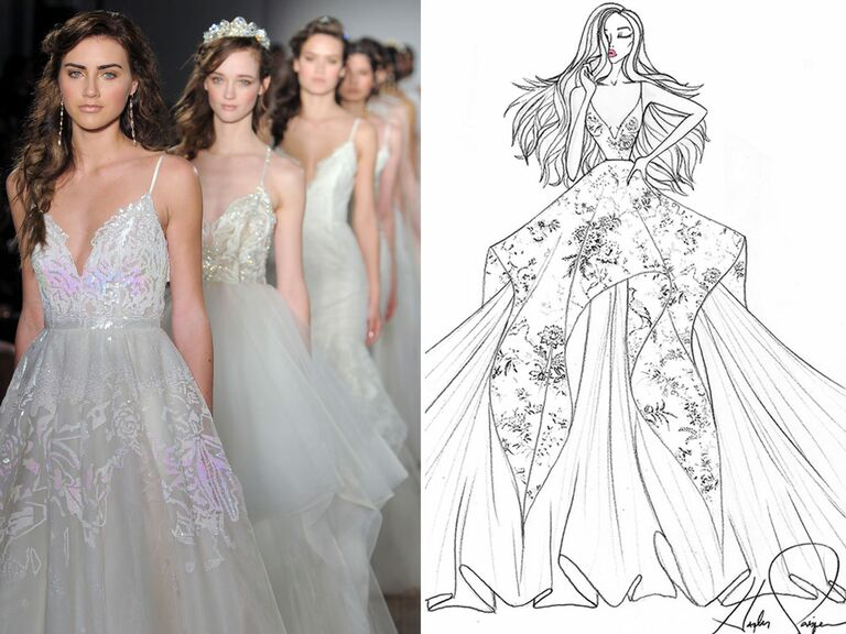 Exclusive Wedding Dress Sketches by Designers Hayley Paige, Lazaro and
