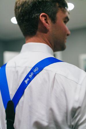 Monogrammed Blue Suspenders