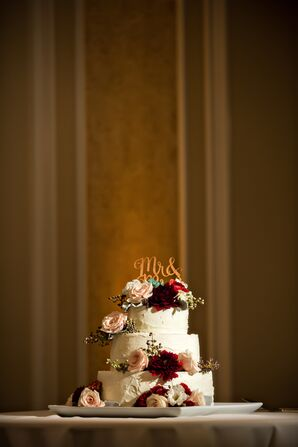 Rustic Blush Rose and Burgundy Dahlia Wedding Cake