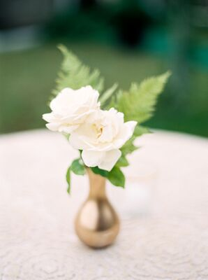 Simple Roses in Gold Vases