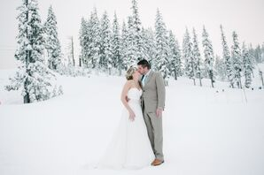 Karissa and Mitch Kissing on Snowy Mountain