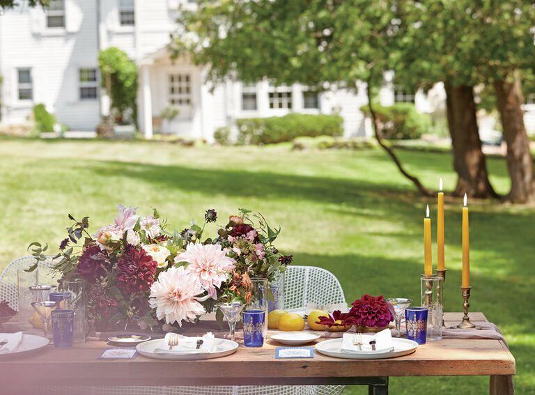 tabletop decor for a garden bridal shower