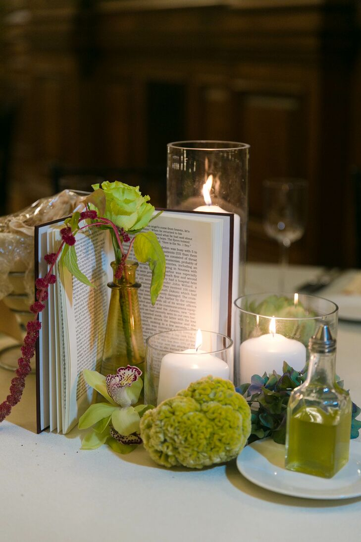Green Trick and Candle Centerpieces