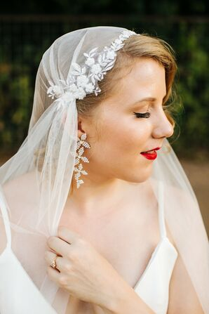 Whimsical Bride with Juliet Cap Veil, Drop Earrings and Red Lipstick