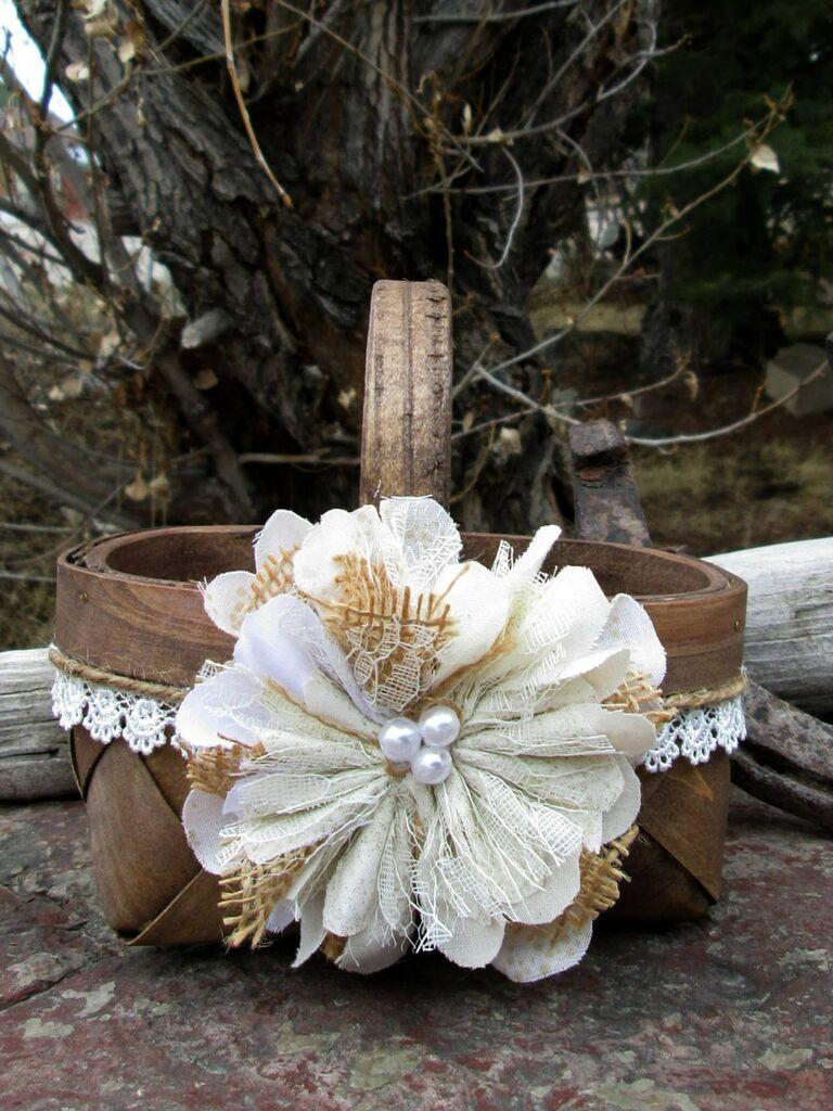 wooden heart center burlap basket