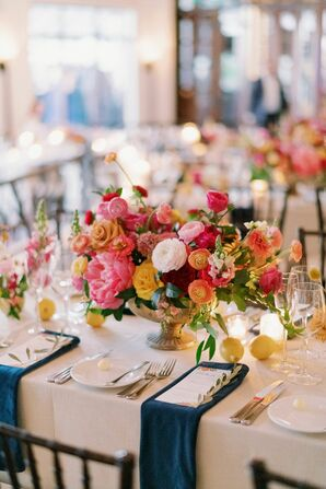 Vibrant Pink-and-Orange Floral Centerpieces