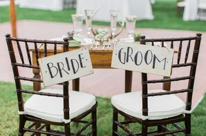 Painted Wooden Reception Chair Signs