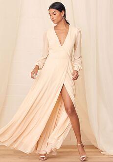 Lulus My Whole Heart Cream Long Sleeve Wrap Maxi Dress Bridesmaid Dress