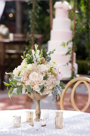 Blush Hydrangea, Lisianthus and Eucalyptus Centerpiece